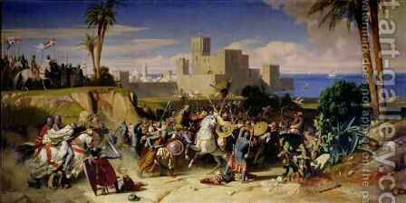 The Taking of Beirut by the Crusaders in 1197 by Alexandre-Jean-Baptiste Hesse - Reproduction Oil Painting