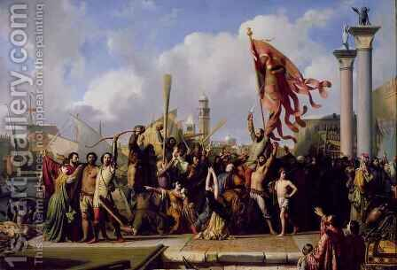The Triumph of Pisani by Alexandre-Jean-Baptiste Hesse - Reproduction Oil Painting