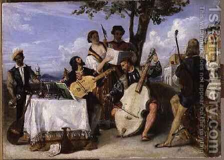 The Venetian Concert by Alexandre-Jean-Baptiste Hesse - Reproduction Oil Painting