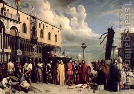 Funerary honours given to Titian who died in Venice in the plague of 1576 by Alexandre-Jean-Baptiste Hesse - Reproduction Oil Painting