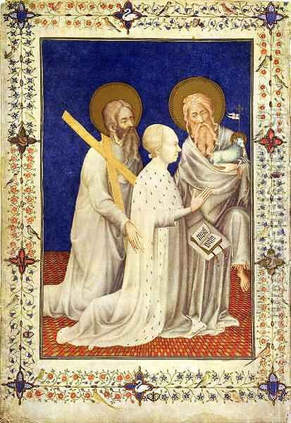 John Duc de Berry on his knees between St Andrew and St John French from the Tres Riches Heures du Duc de Berry by Jacquemart De Hesdin - Reproduction Oil Painting