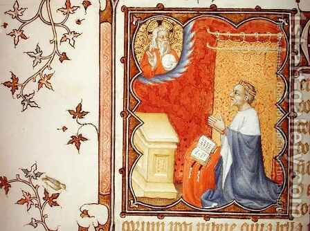 Jean de France 1340-1416 Duke of Berry Praying Before the Eternal Father from Les Petites Heures de Duc de Berry by Jacquemart De Hesdin - Reproduction Oil Painting