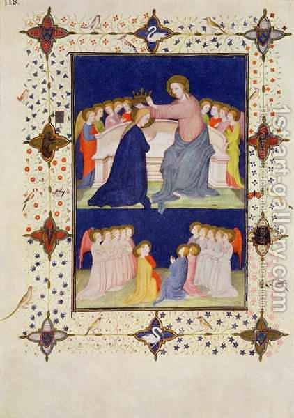 Hours of Notre Dame Compline The Coronation of the Virgin from the Tres Riches Heures du Duc de Berry by Jacquemart De Hesdin - Reproduction Oil Painting