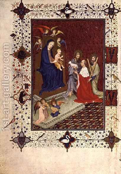 Frontispiece with John Duc de Berry St Andrew and St John praying in front of the Virgin French from the Tres Riches Heures du Duc de Berry by Jacquemart De Hesdin - Reproduction Oil Painting