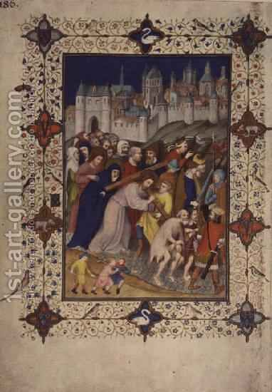 Hours of the Cross Sexte Christ Carrying the Cross from the Tres Riches Heures du Duc de Berry by Jacquemart De Hesdin - Reproduction Oil Painting