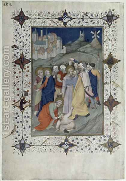 Hours of the Cross Matin and Laudes The Betrayal by Judas from the Tres Riches Heures du Duc de Berry by Jacquemart De Hesdin - Reproduction Oil Painting