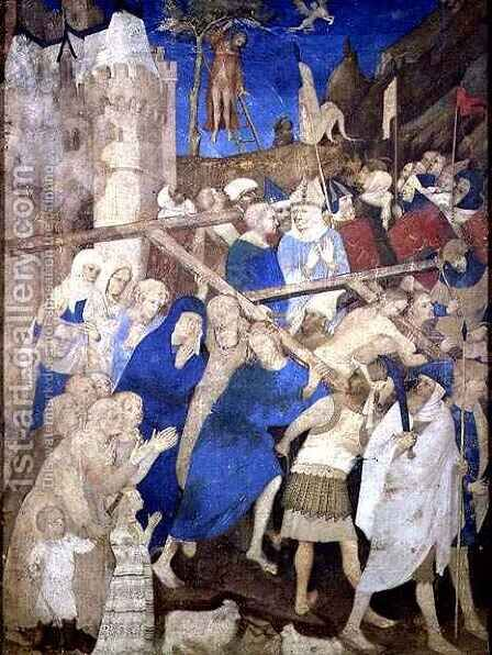 Christ Carrying the Cross from the Grandes Heures de Duc de Berry by Jacquemart De Hesdin - Reproduction Oil Painting