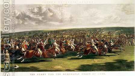 The Start of the Memorable Derby of 1844 by (after) Herring Snr, John Frederick - Reproduction Oil Painting