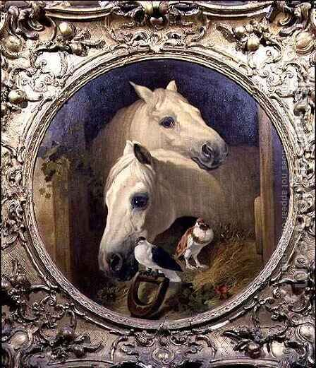 Horses by a Stable Door by (after) Herring Snr, John Frederick - Reproduction Oil Painting