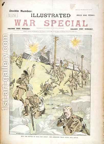 How the Battle of Gras Pan began cover of Illustrated War Special by C. Hentschell - Reproduction Oil Painting