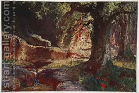 Fafner in his cave by Hermann Hendrich - Reproduction Oil Painting