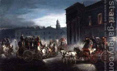 The Edinburgh Mail Coach and Other Coaches in a Lamplit Street by Charles Cooper Henderson - Reproduction Oil Painting