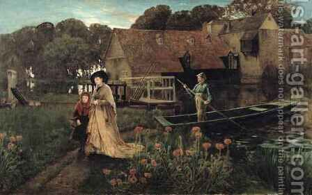 Goring Mill and Weir near Streatley Berkshire by Charles Napier Hemy - Reproduction Oil Painting