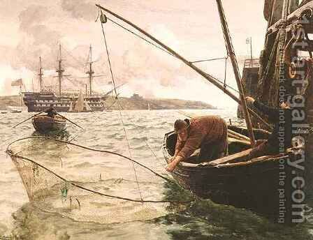 A Smelt Net by Charles Napier Hemy - Reproduction Oil Painting