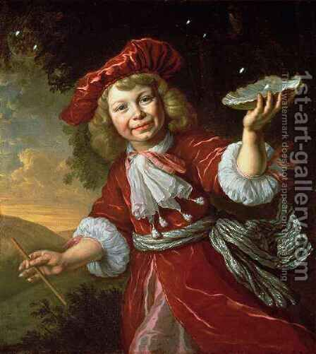 Homo Bulla A Boy Blowing Bubbles by Bartholomeus Van Der Helst - Reproduction Oil Painting