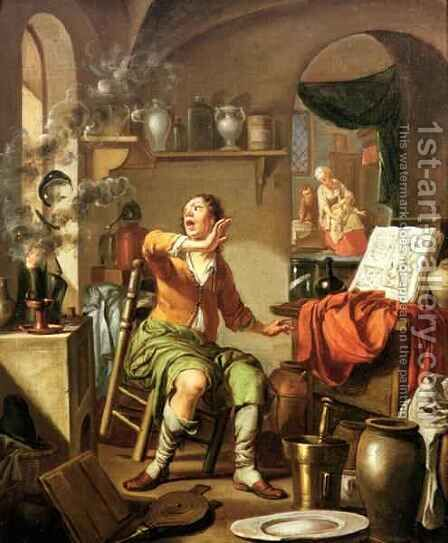The Alchemist by Hendrick Heerschop or Herschop - Reproduction Oil Painting