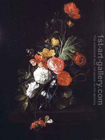 Still Life of Flowers by David de II Heem - Reproduction Oil Painting