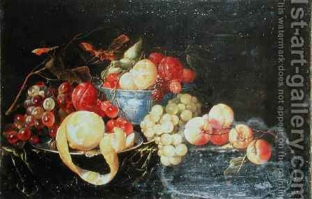 Still Life with Fruit in Delft Bowl Including a Peeled Orange by Cornelis De Heem - Reproduction Oil Painting