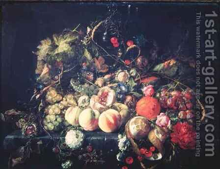 Still Life with Flowers and Fruit 2 by Cornelis De Heem - Reproduction Oil Painting