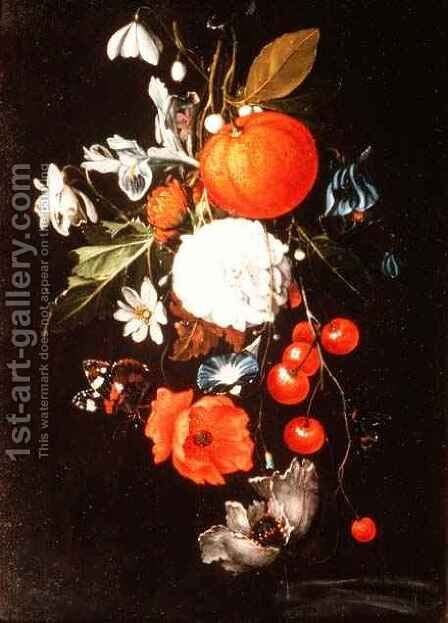 Still Life with Fruit and Flowers by Cornelis De Heem - Reproduction Oil Painting
