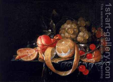 A Still Life with a lemon grapes cherries and apricots on a pewter plate by Cornelis De Heem - Reproduction Oil Painting