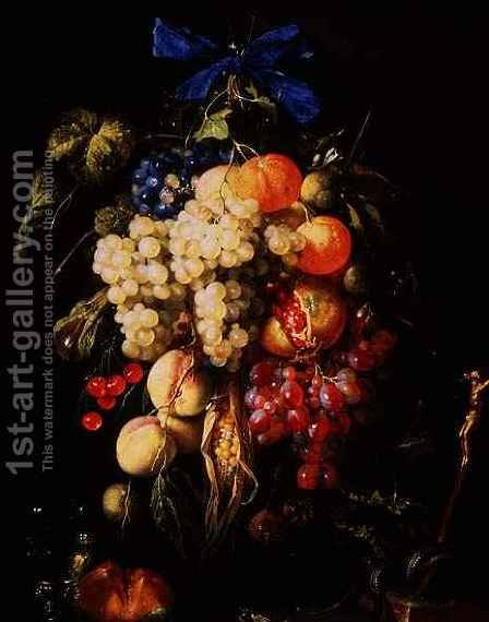 Bouquet of Fruit with Eucharistic Symbols on a Ledge Below by Cornelis De Heem - Reproduction Oil Painting