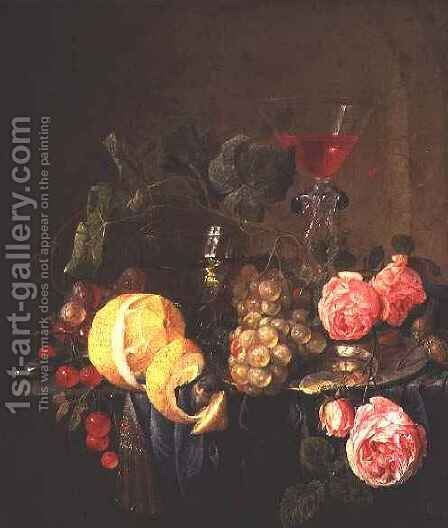 Fruit and Flowers by Cornelis De Heem - Reproduction Oil Painting