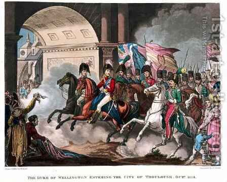 The Duke of Wellington 1769-1852 entering the city of Toulouse in 1814 by (after) Heath, William - Reproduction Oil Painting
