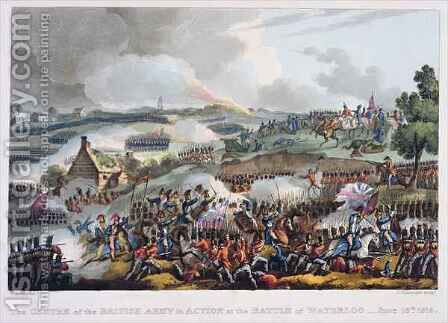The Centre of the British Army in Action at the Battle of Waterloo by (after) Heath, William - Reproduction Oil Painting