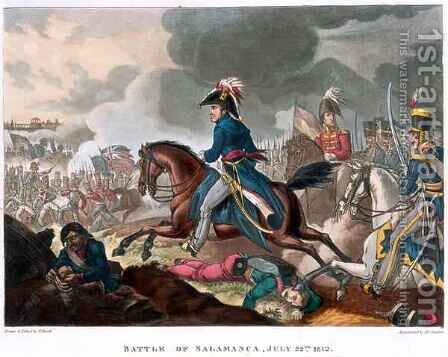 The Duke of Wellington 1769-1852 at the Battle of Salamanca by (after) Heath, William - Reproduction Oil Painting
