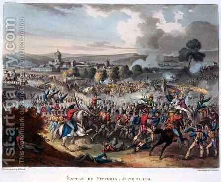 Arthur Wellesley 1769-1852 Lord Wellington Entering Salamanca by (after) Heath, William - Reproduction Oil Painting
