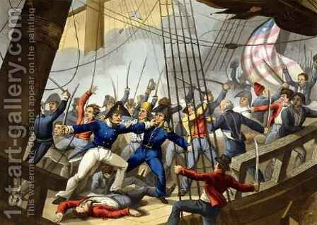 Boarding and Taking the American Ship Chesapeake by the Officers and Crew of HM Ship Shannon by (after) Heath, William - Reproduction Oil Painting