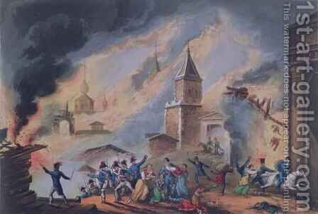 The Burning of Moscow by (after) Heath, William - Reproduction Oil Painting