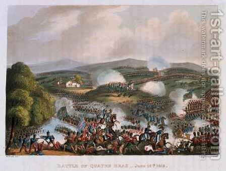 The Battle of Quatre Bras on 16th June 1815 by (after) Heath, William - Reproduction Oil Painting
