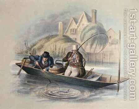 Barbel Fishing Twickenham from a set of six images of Angling by Henry Heath - Reproduction Oil Painting