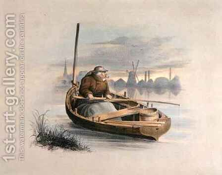 Eel bobing Battersea from a set of six images of Angling by Henry Heath - Reproduction Oil Painting