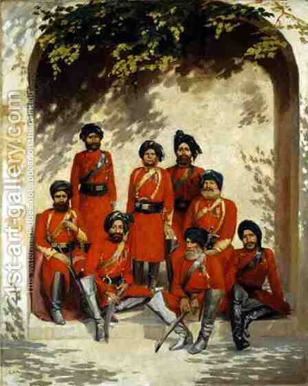Indian Army Officers and Non Commissioned Officers by Gordon Hayward - Reproduction Oil Painting