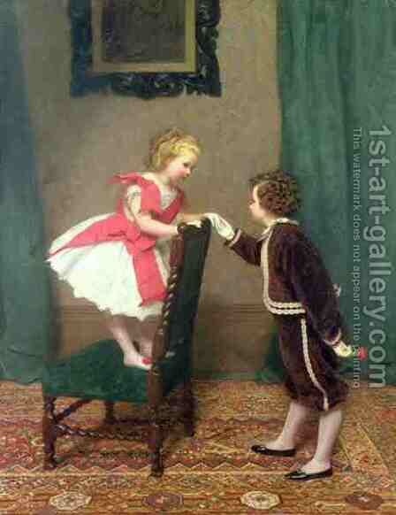 Miss Lilys First Flirtation by James Haylar - Reproduction Oil Painting