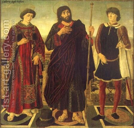 Altarpiece of the SS. Vincent, James and Eustace by Antonio Del Pollaiuolo - Reproduction Oil Painting