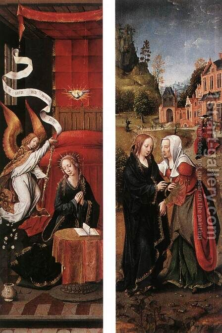 Annunciation and Visitation by - Unknown Painter - Reproduction Oil Painting