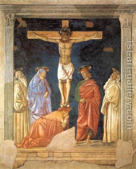 Crucifixion and Saints by Andrea Del Castagno - Reproduction Oil Painting