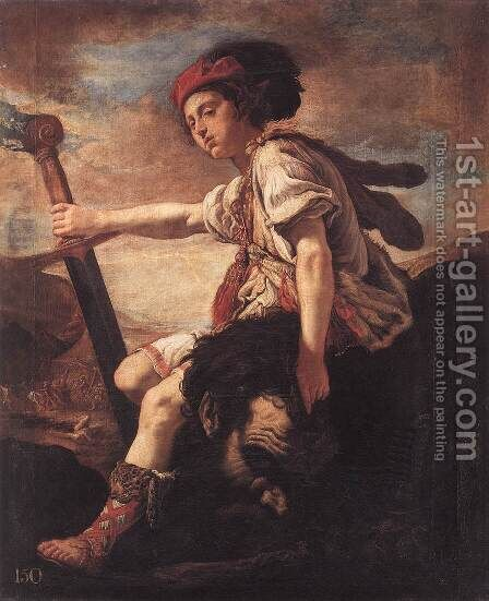 David with the Head of Goliath by Domenico Feti - Reproduction Oil Painting