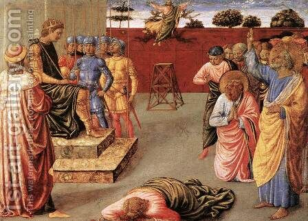 Fall of Simon Magus by Benozzo di Lese di Sandro Gozzoli - Reproduction Oil Painting