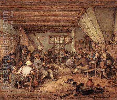 Feasting Peasants in a Tavern by Adriaen Jansz. Van Ostade - Reproduction Oil Painting