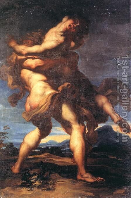 Hercules and Antaeus by Gregorio de Ferrari - Reproduction Oil Painting