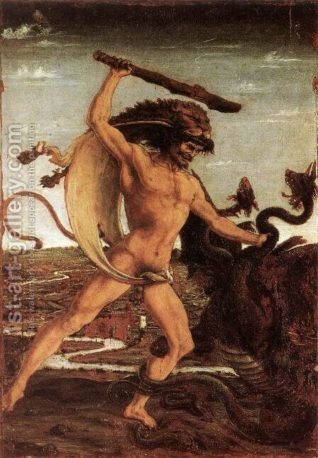 Hercules and the Hydra by Antonio Del Pollaiuolo - Reproduction Oil Painting