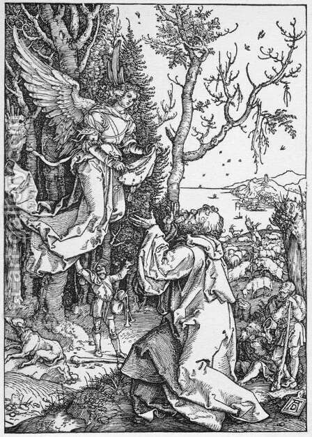 Life of the Virgin 2. The Angel Appering to Joachim by Albrecht Durer - Reproduction Oil Painting