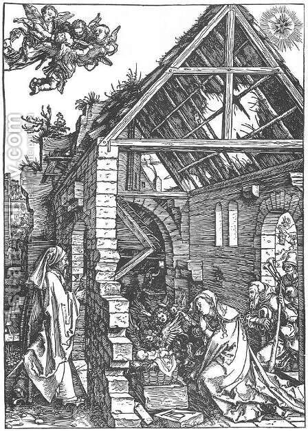 Life of the Virgin 9. The Adoration of the Shepherds. (The Nativity) by Albrecht Durer - Reproduction Oil Painting