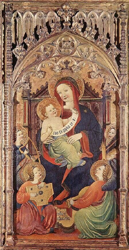Madonna with Christ Child and Angels Playing Music by - Unknown Painter - Reproduction Oil Painting