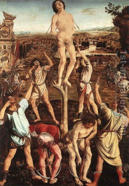 Martyrdom of St Sebastian by Antonio Del Pollaiuolo - Reproduction Oil Painting